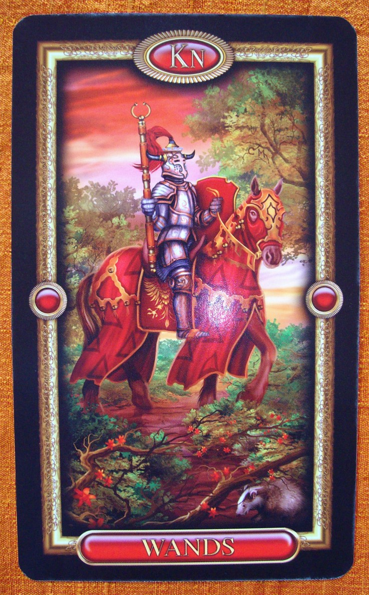 Knight of Wands from the Gilded Tarot Royale