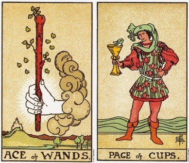 Ace of Wands and Page of Cups