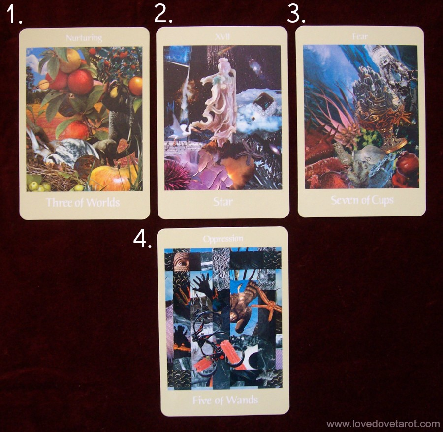 image of tarot spread with the Voyager Tarot deck
