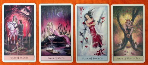 The fours from the Crystal Visions Tarot deck