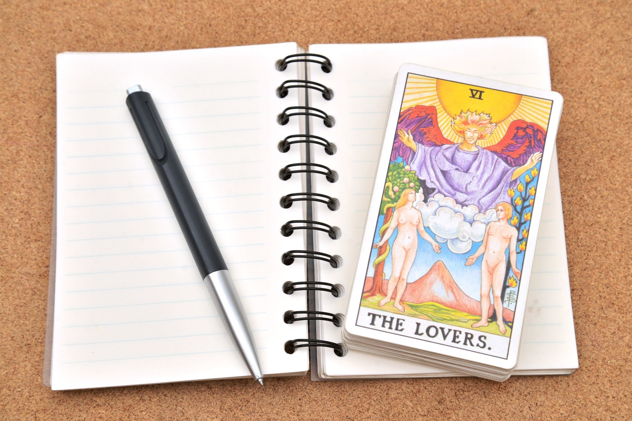 The Lovers Tarot Card and Notebook