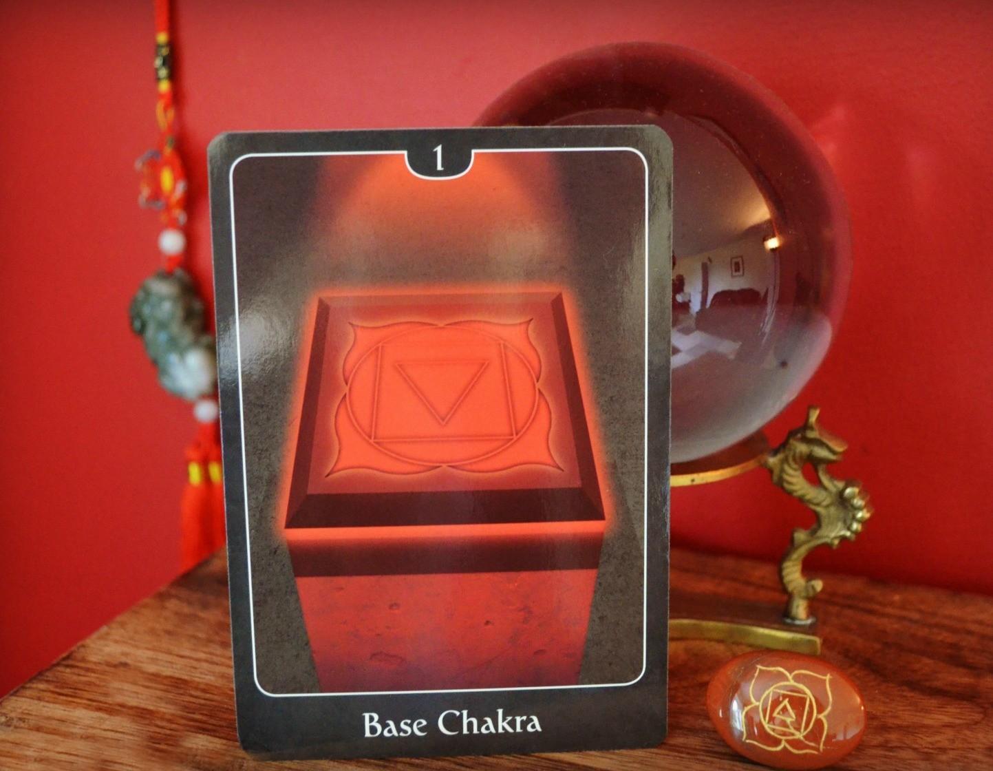 Root Chakra card and red jasper chakra stone