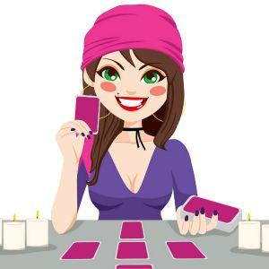 happy tarot reader pink and purple