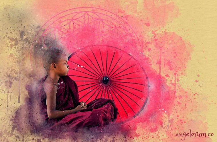 buddhist child monk meditating