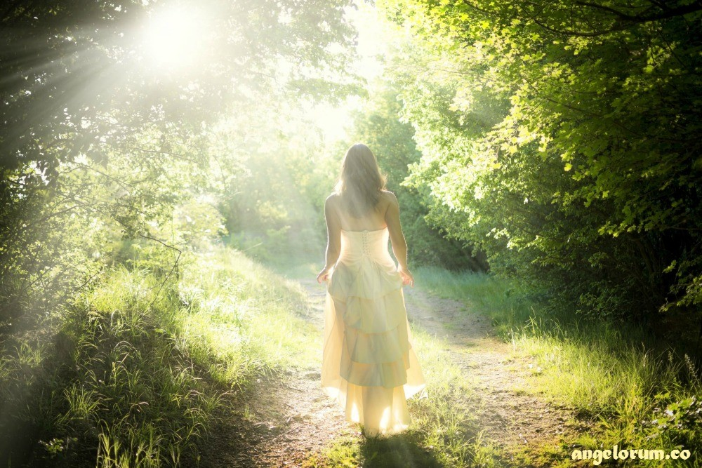woman in white walking in magic sunlit forest
