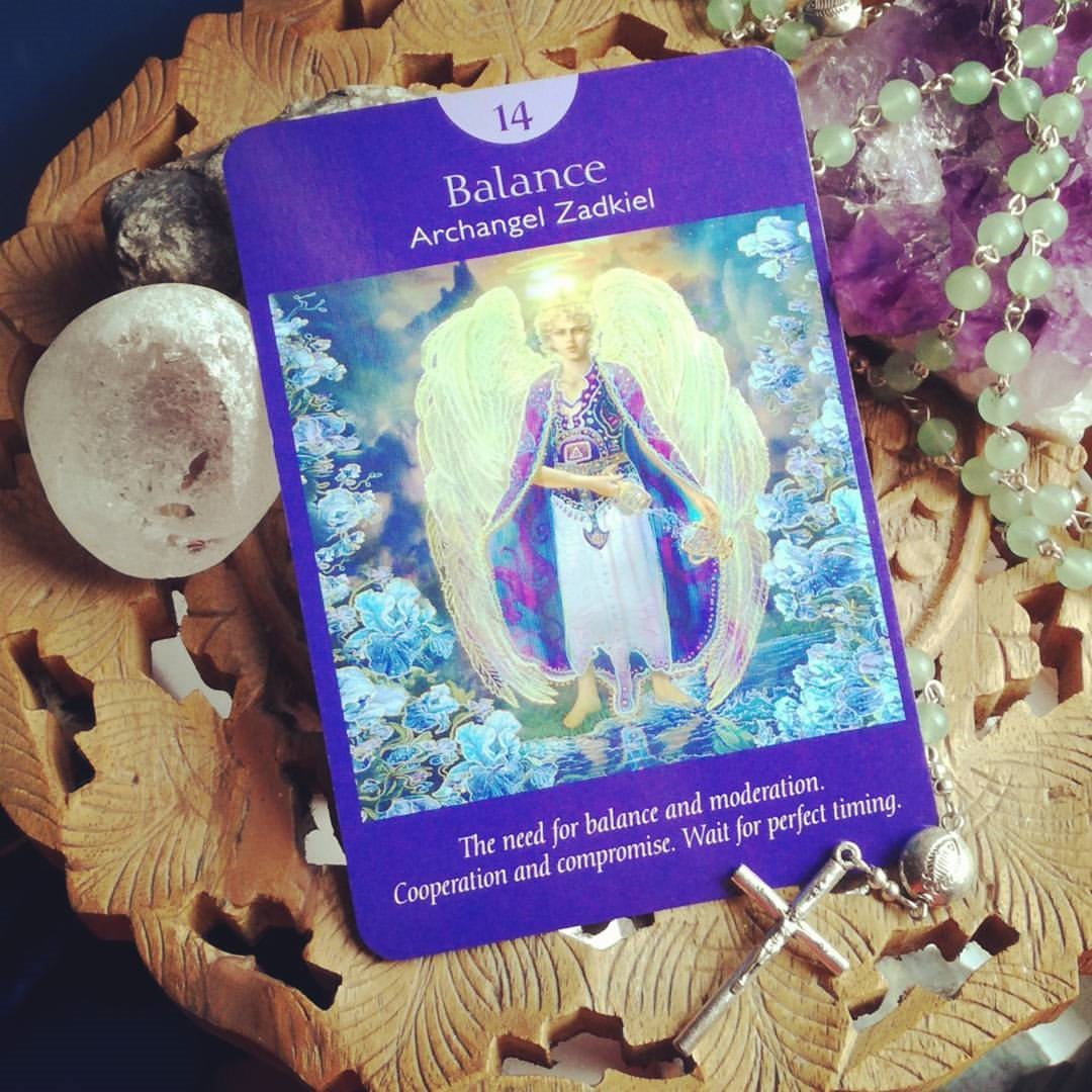 Temperance Balance from the Angel Tarot Cards Archangel Zadkiel Sagittarius Full Moon Message
