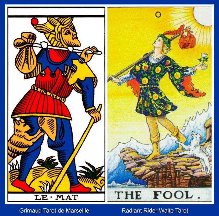 0 The Fool Tarot de Marseille and Rider Waite Tarot