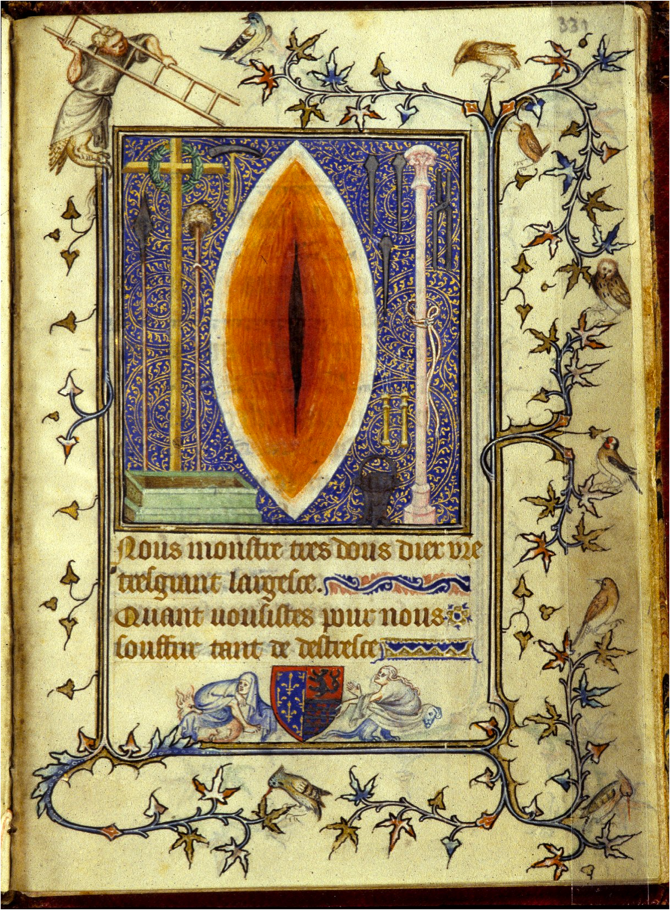 medieval image of christ's chest laceration in the form of a vagina