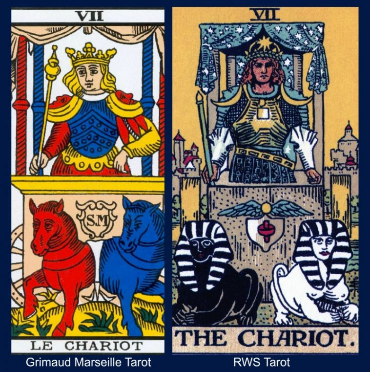 The Chariot Marseille and Rider Waite Smith Tarot