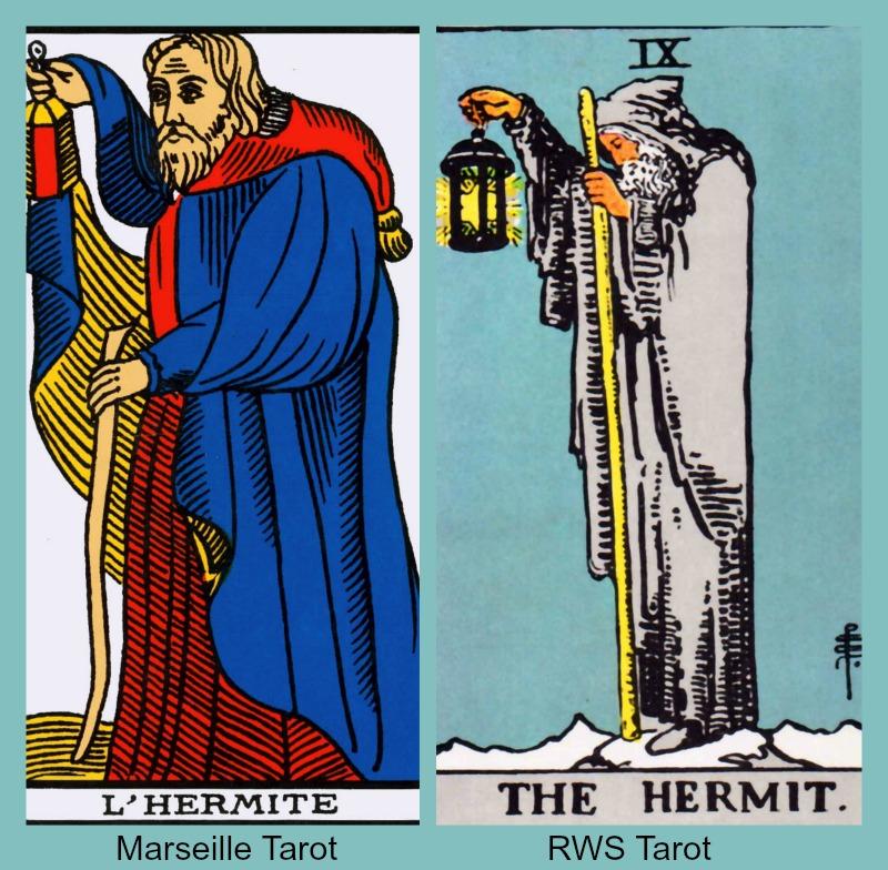 The Tarot Hermit card from the Marseille Tarot and the RWS Tarot