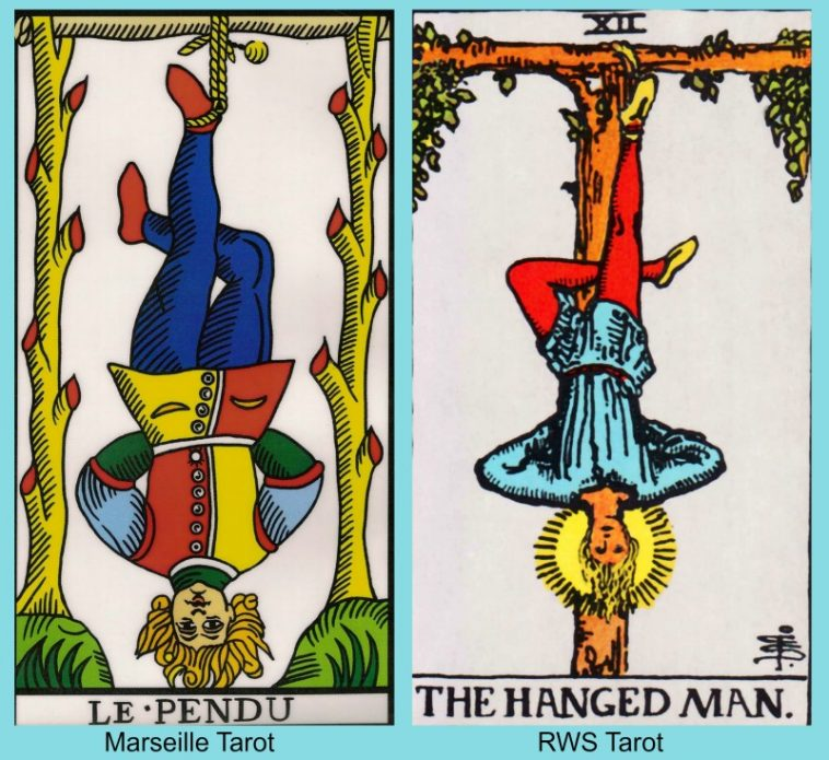 Tarot Hanged Man Marseille and RWS Tarot