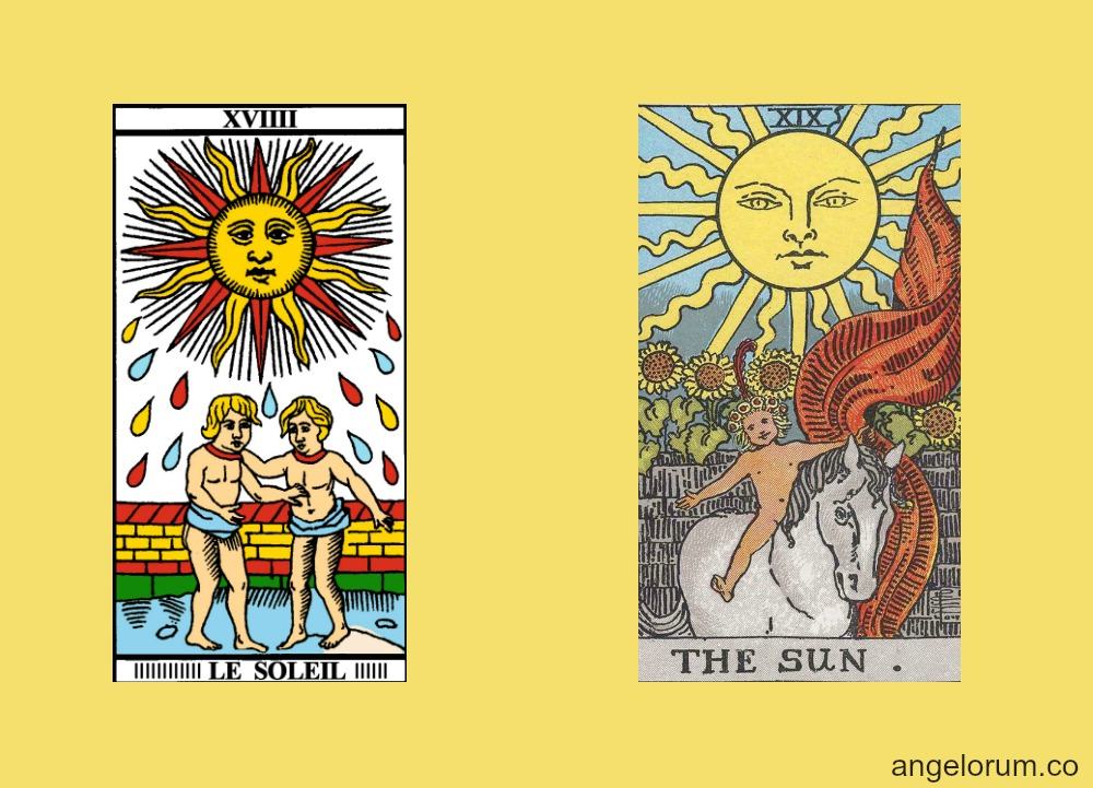 The Tarot Sun card Marseille and RWS Tarot