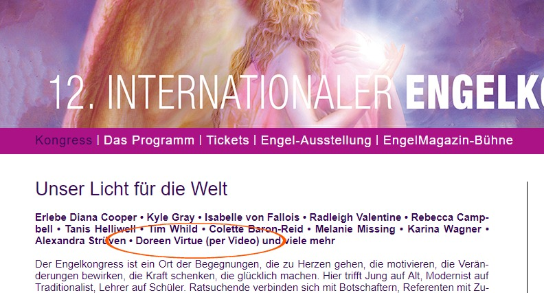 doreen virtue appearing at the june 2018 engelkongress new age event